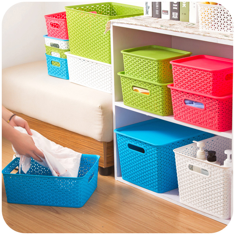 hollow stackable storage box finishing large covered clothing toy storage basket k5182