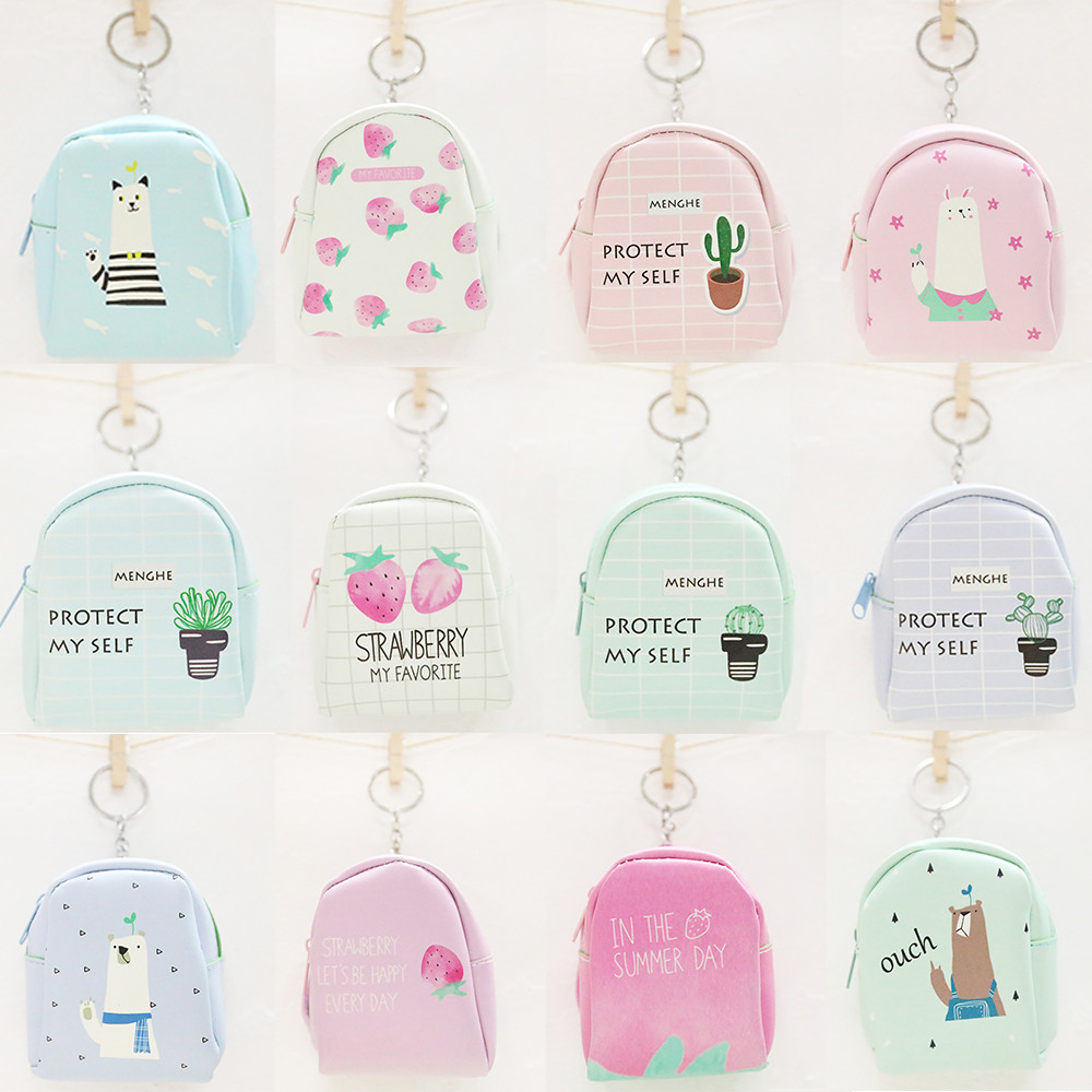 Girls Cute Leather Snacks Coin Purse Printing Cartoon Flap Wallet Strawberry Bear Pattern Fashion Women Key Holder Mini Pouch