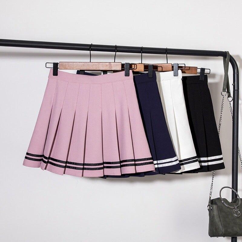 Mulheres saia curta plissada lolita estilo harajuku kawaii doce listrado saias mini bonito uniformes escolares saia faldas senhoras jupe