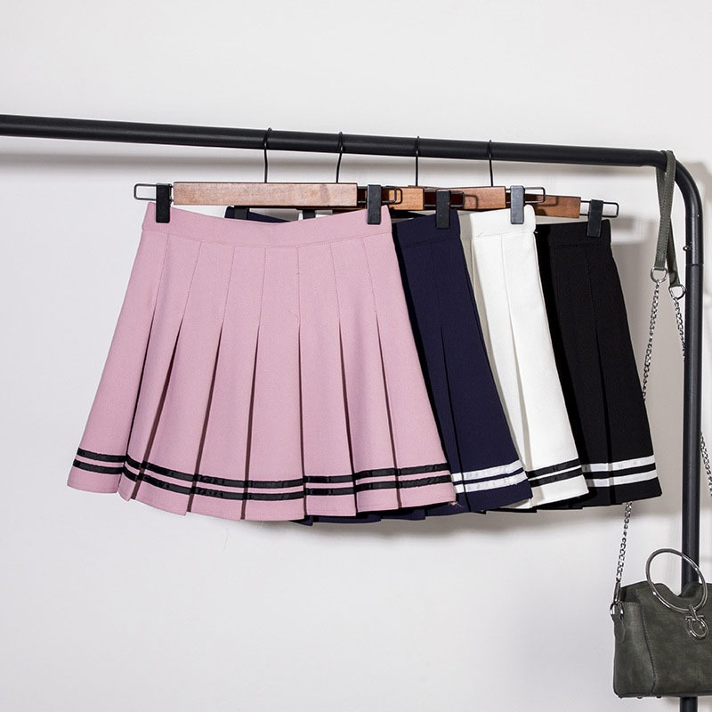 Women Pleated Short Skirt Lolita Style Harajuku Kawaii Sweet Striped Skirts Mini Cute School Uniforms Saia Faldas Ladies Jupe