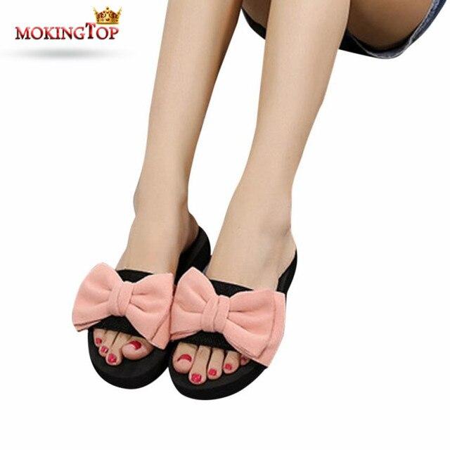 135ccea1581043 MOKINGTOP Big Bow Summer slippers women Flip Flops womens Indoor Outdoor flat  slipper summer 2018 womans slipper Beach shoes WS