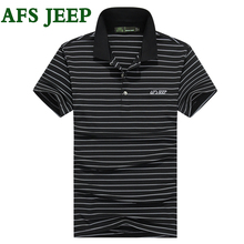 AFS JEEP Polo Stripe Splice High Quality brand clothing Casual Short Sleeve Solid polos Shirts Clothing Breathable Polo Shirt 40
