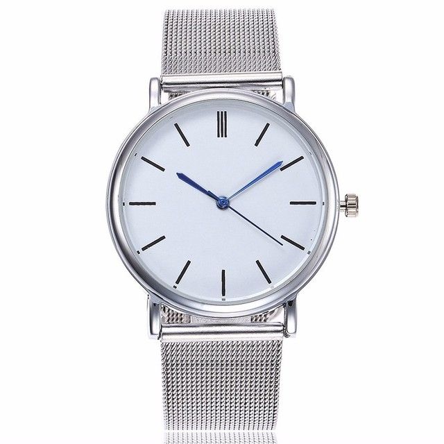 Dropshipping Fashion Silver Mesh Quartz Watch Women Metal Stainless Steel Dress