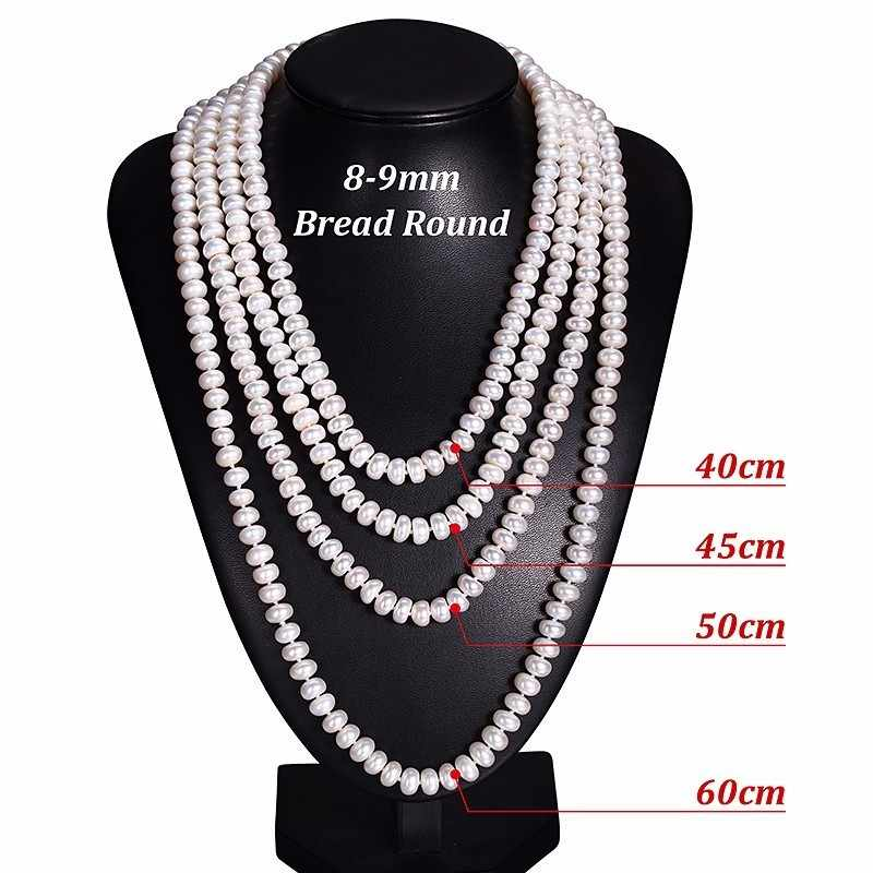 Hengsheng Real White Natural Freshwater Pearl Women Necklace,8-9mm Beads Jewelry Necklace,60cm Length Necklace Fashion Jewelry