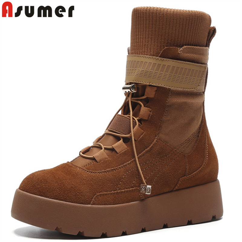 ASUMER 2018 fashion autumn winter boots round toe lace up flat with suede leather boots classic ladies prom ankle boots обогреватель инфракрасный ballu bih t 1 0