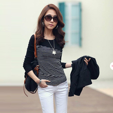 Vetement Femme 2018 Women Shirt Clothes Casual Woman Tops Long Sleeve White Black Striped Patchwork Womens Blouses Poleras Mujer