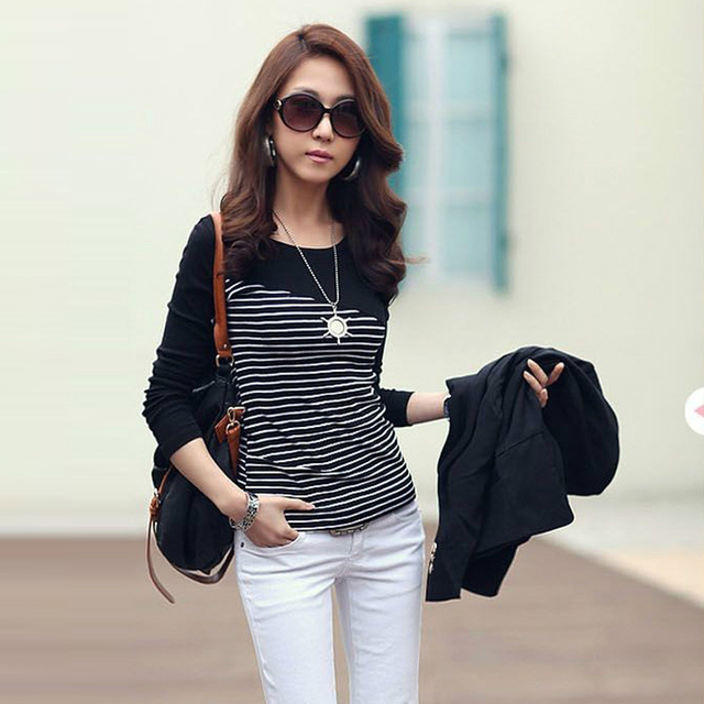 8f004c0f47866 Vetement Femme 2018 mujeres camisa ropa casual mujer Tops manga larga  blanco negro rayado patchwork Womens