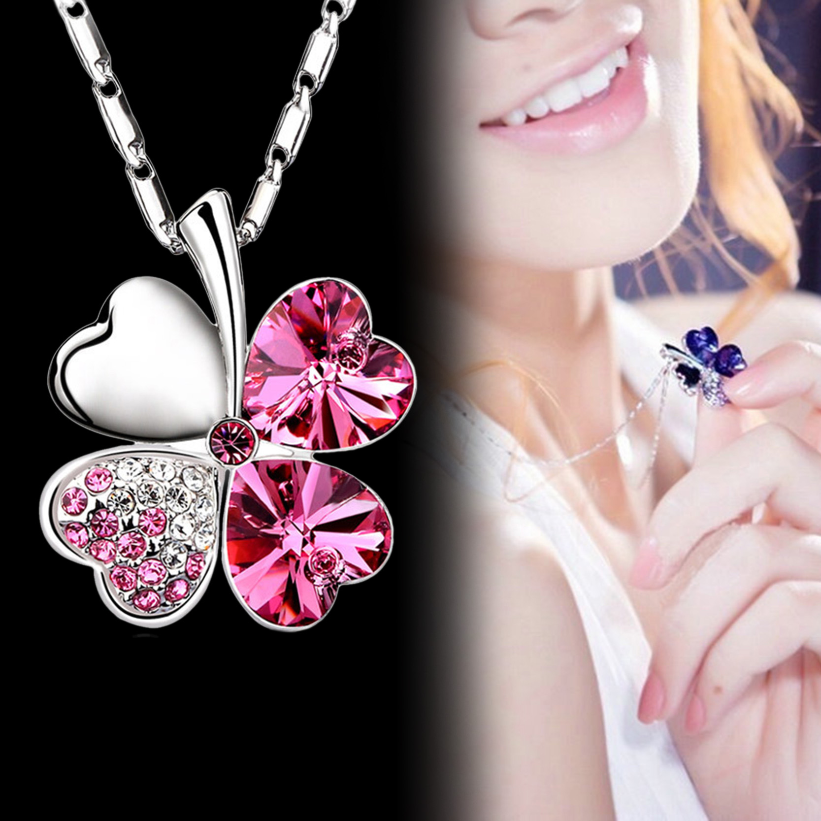2017 heart chains silver crystal clover charm pendants for What is fine jewelry
