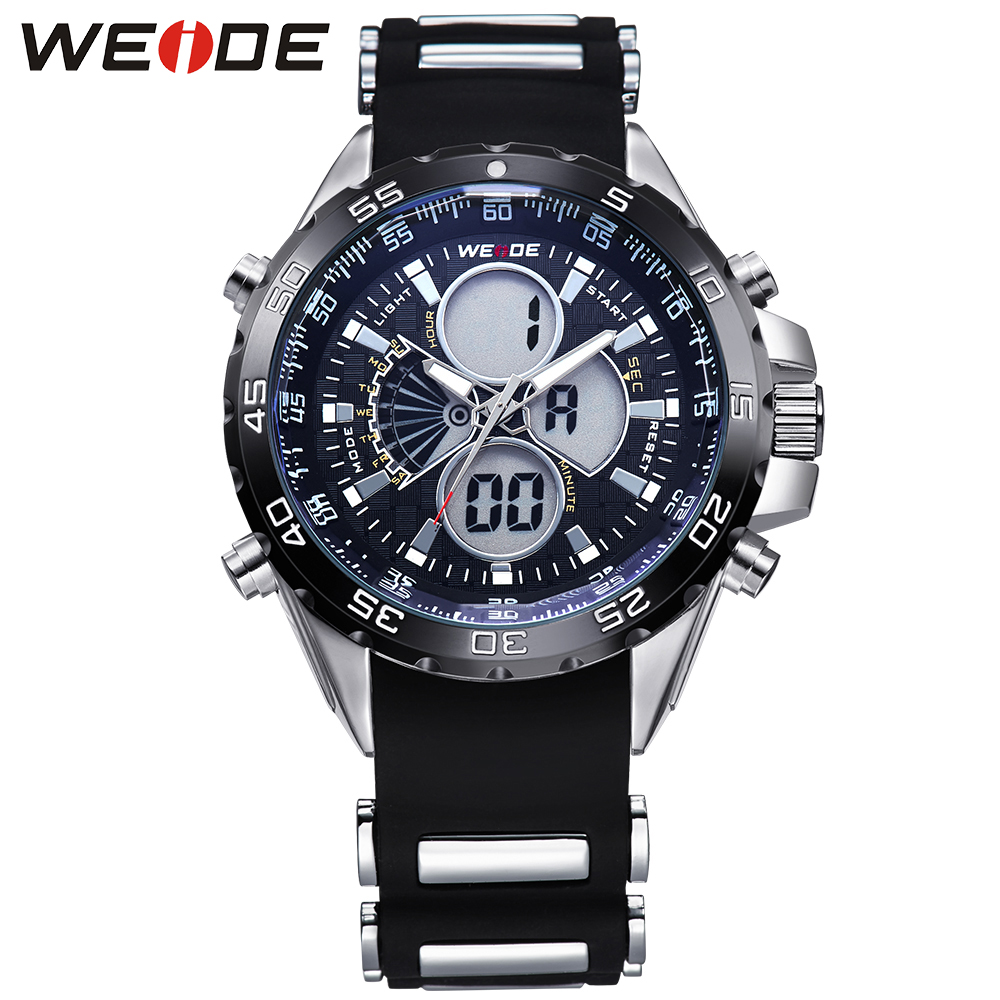 WEIDE Waterproof Analog Digital Men Sports Watches Dual Time Zones Alarm Stopwatch Date Display Silicone Strap Classic Design weide 2 time zones men sports date lcd digital analog display repeater stopwatch quartz back light movement military watches men