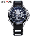 WEIDE Waterproof Analog Digital Men Sports Watches Dual Time Zones Alarm Stopwatch Date Display Silicone Strap Classic Design