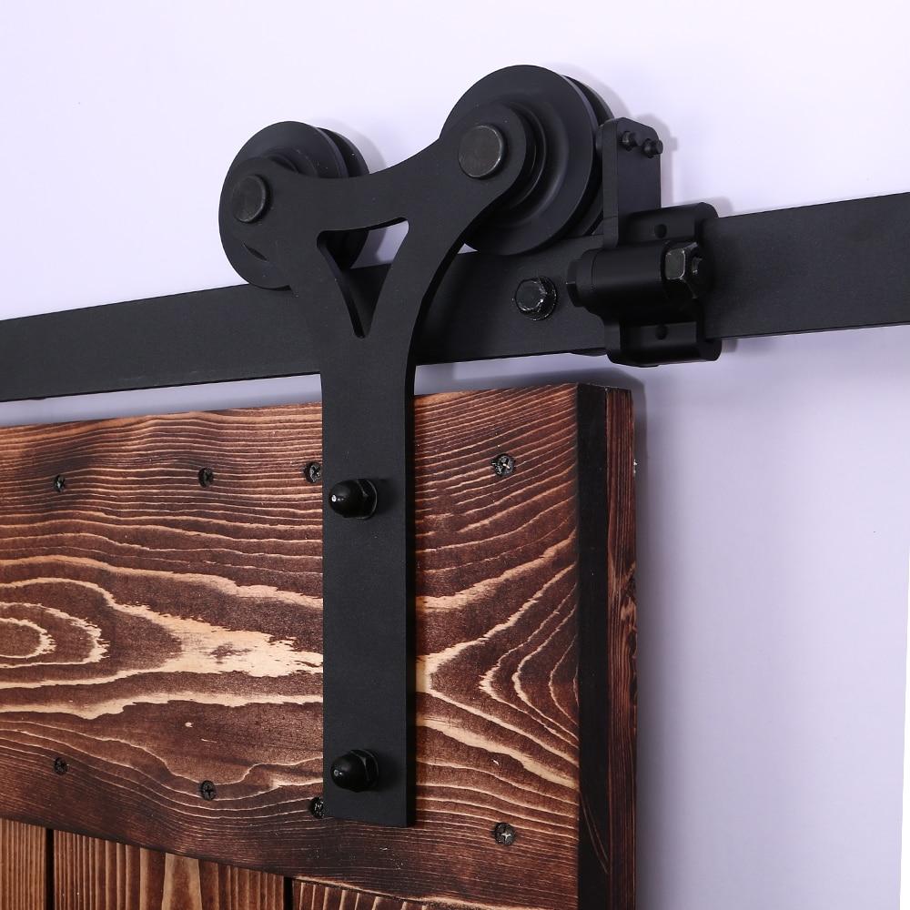 LWZH Heavy Duty Sliding Barn Door Modern Wooden Sliding Barn Door Hardware Kit Black Y- Shaped Roller for 11FT 12FT Single Door