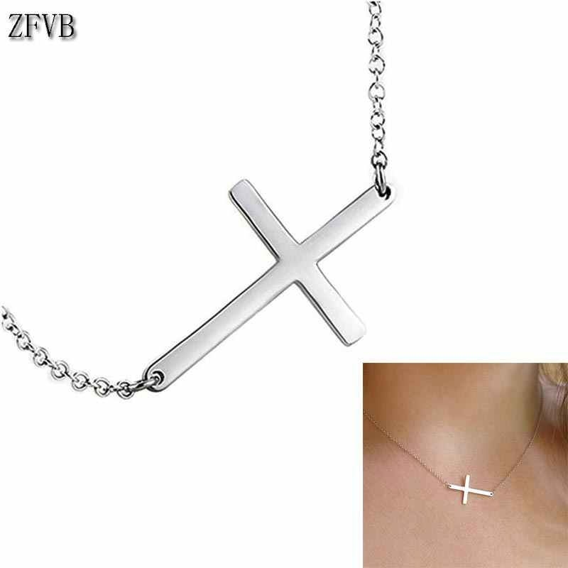 ZFVB 2019 NEW Cross Necklace Women Gold Trendy Jewelry Stainless Steel Fashion Pendant Cross Necklace Clavicle chain Gift