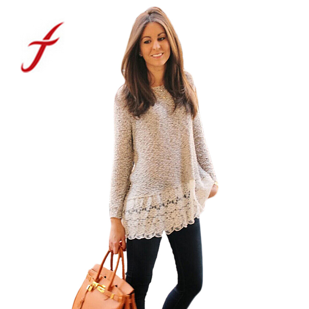 Feitong 2018 women knitted sweater fashion brand ladies for Long sweaters and shirts