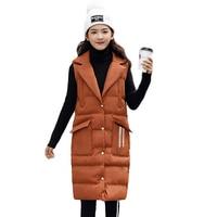 Long Vest Winter Women Suit Collar Sleeveless Down Jacket Slim Female Quilted Coat Femme Korean Waistcoat Colete 3XL 4XL CM926