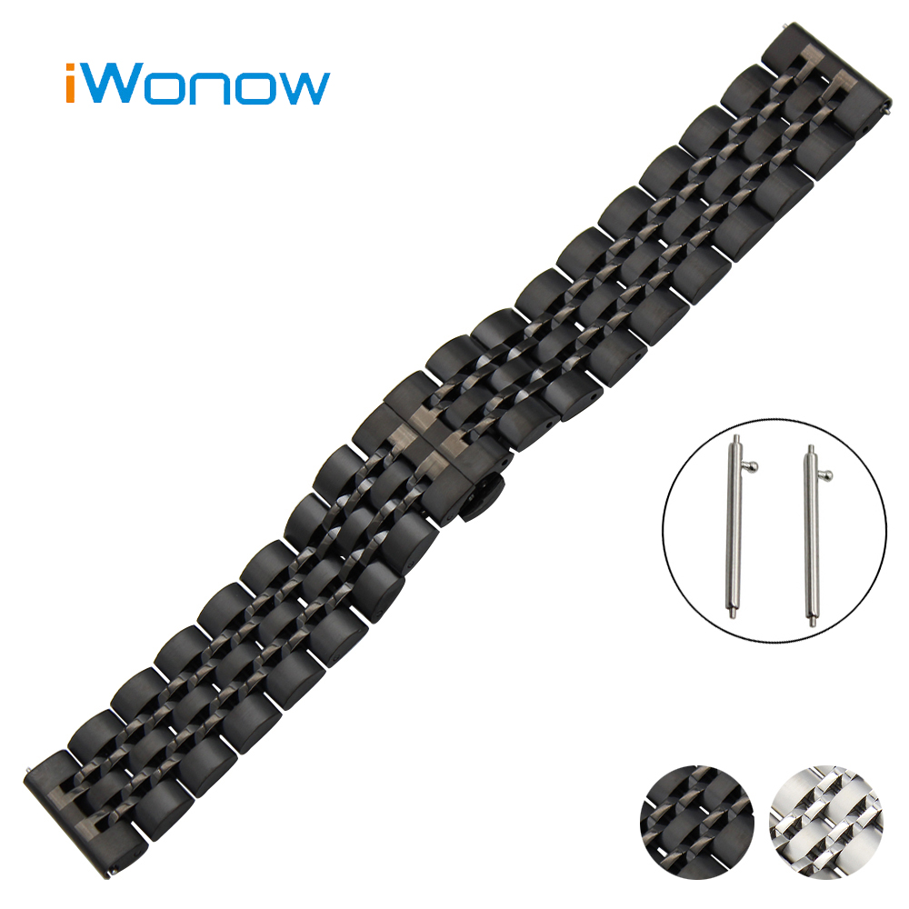 Stainless Steel Watch Band 20mm 22mm for Breitling Quick Release Strap Butterfly Buckle Wrist Belt Bracelet Black White + Tool silicone rubber watch band 22mm for breitling stainless steel pin clasp strap quick release wrist loop belt bracelet black