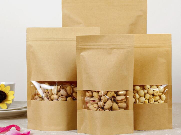 food grade recloseable favors product packaging clear window bakery bag 100-8 oz white Kraft paper stand up pouches resealable zipper