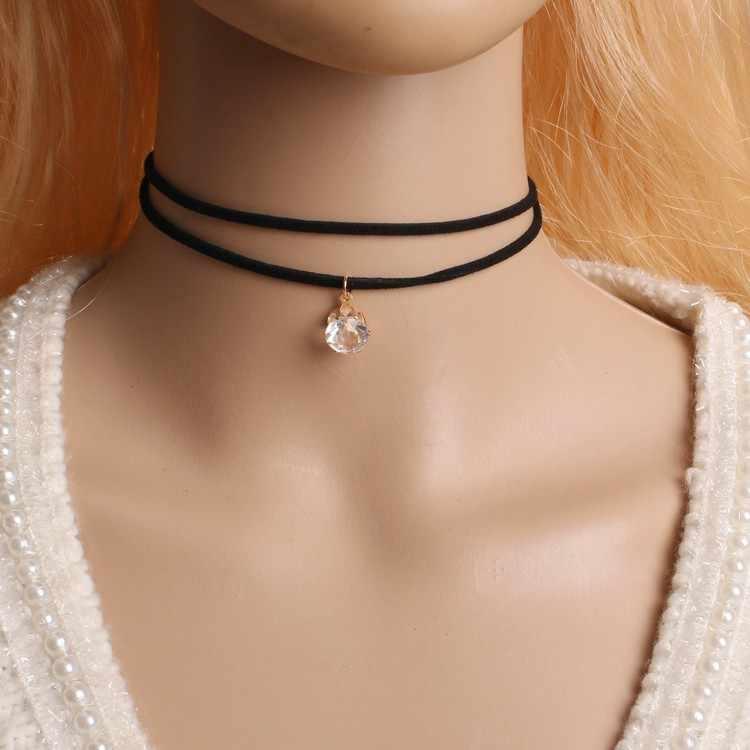 Hot moda dwuwarstwowe naszyjniki hurtowych wisiorki z frędzlami naszyjniki czarna aksamitna skóra Chokers naszyjniki dla kobiet biżuteria