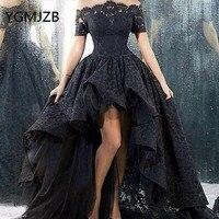 Черное Кружевное выпускное платье 2019 Пышное Бальное Платье с коротким рукавом с открытыми плечами, вечернее платье Саудовская Арабская Жен