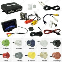 Car 4.3″ LCD Monitor 4-sensor Parking Sensor 4-LED Night Vision CCD Camera Reversing Rearview Parking System #FD-982