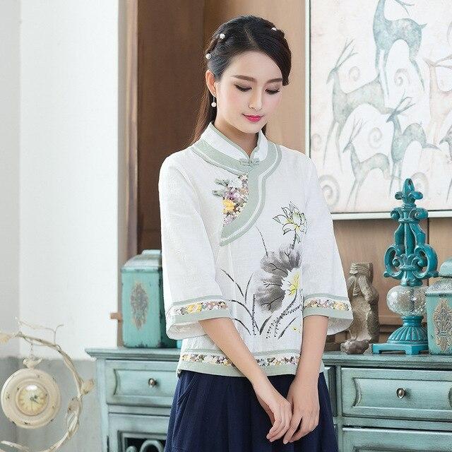 3xl Haut Chemise M Tempérament Sexy Mandarin Taille Chinois Fleur Col Traditionnel Mariage Blouse Dame Femmes Tang Mère Noble uXOkZiP