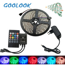 Goolook  RGB LED Strip 5050 SMD  5m 10m Led Light Tape Waterproof RGB diode LED Ribbon Music IR Controller + Power Supply
