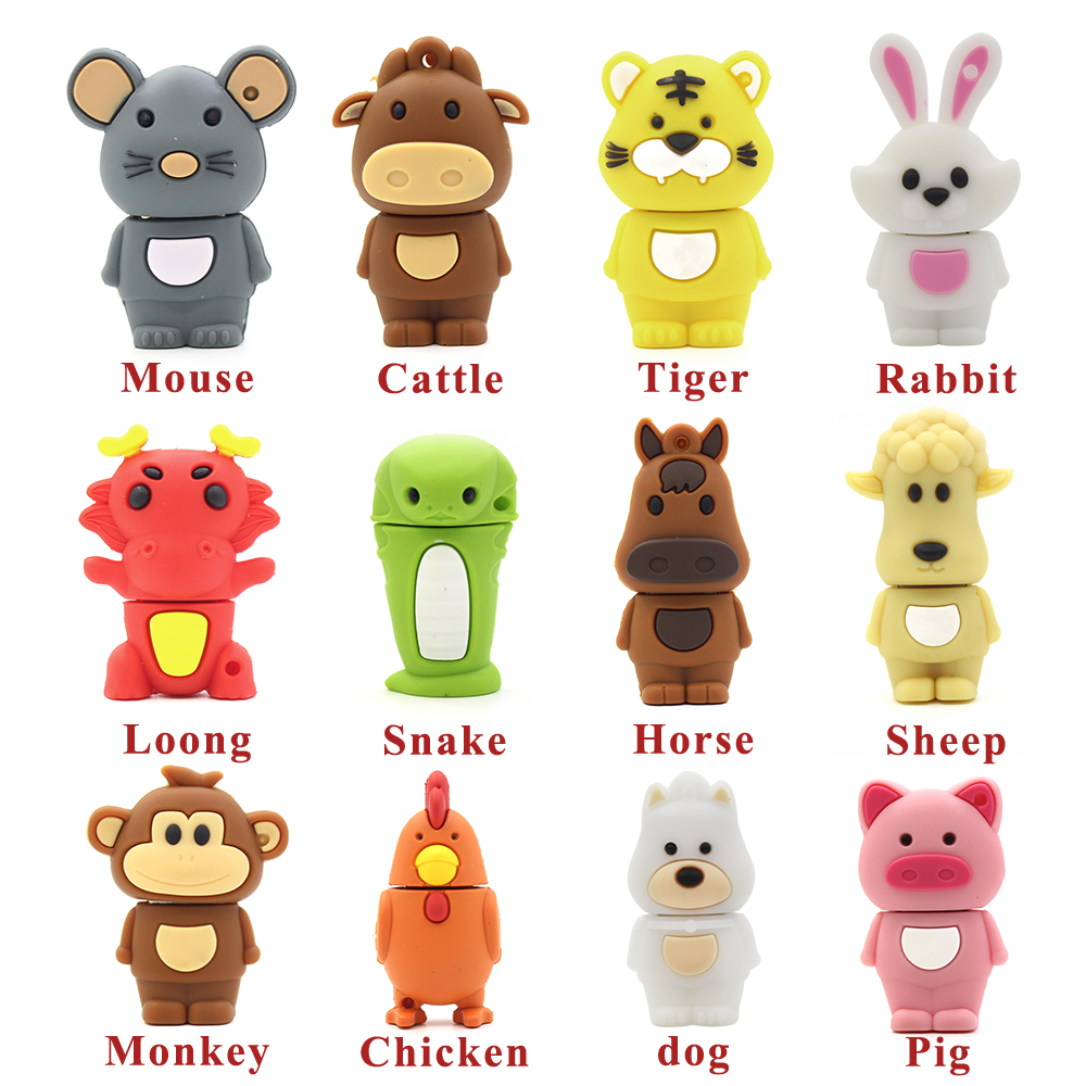 All Types Of Chinese Zodiac Usb Flash Drive Animal 64GB Pen Drive Mouse/Rabbit/Horse/Monkey Pendrive Real Capacity Memory Stick