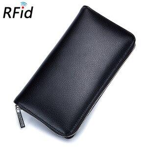Image 2 - 本革 Rfid ブロッキングクレジットカードホルダー男性オーガナイザー旅行パスポート財布ビジネスカード保有者の女性の財布