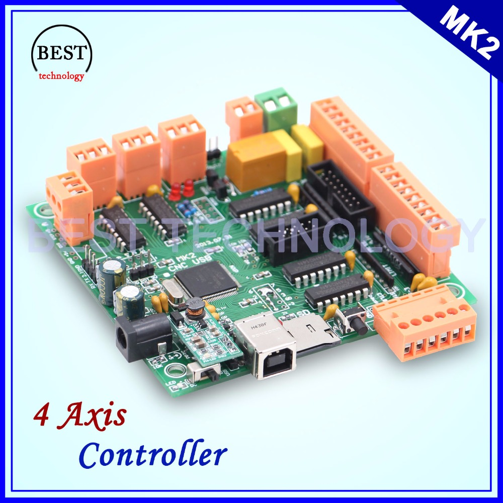 MK2 100Khz 4 axis controller board Instead of Mach3 4axis interface CNC controller CNCUSB board for Stepper motor / Servo freeshipping 0 to 10 vpwm spindle speed controller mach3 interface board