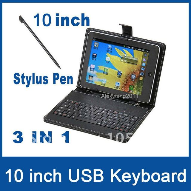 "Free shipping wholesale 10"" inch keyboard case Leather case with usb keyboard bracket for apad epad ebook mid Tablet PC"