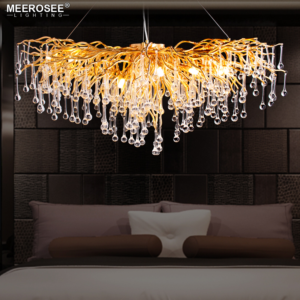 Us 997 5 25 Off 2019 Luxurious Crystal Pendant Light Modern Por Gold Color G9 Rectanglsuspension Re For Restaurant Hotel Project In