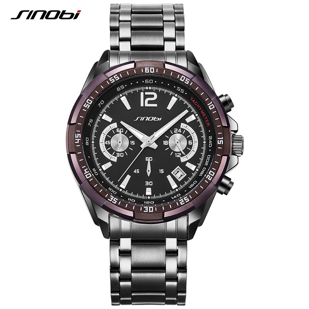 New SINOBI Luxury Brand S Shock Watches Men Sport Full Steel Quartz Watch Man Waterproof Clock Men's Military Watches relogios sinobi men s top luxury brand sport watches men led digital waterproof stainess steel quartz watch man clock relogio masculino