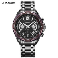 New SINOBI Luxury Brand S Shock Watches Men Sport Full Steel Quartz Watch Man Waterproof Clock