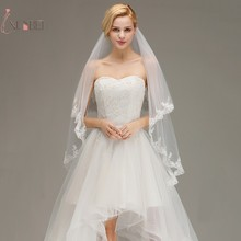 voile mariage Elbow Short Two Layers Wedding Veil With Comb Lace Edge Bridal Veil Wedding Accessories Veu de Noiva New