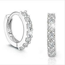 Shiny Zircon Hoop Earrings For Women Jewelry Fashion 925 Sterling Silver Girls Princess Accessories Lady Birthday Gift