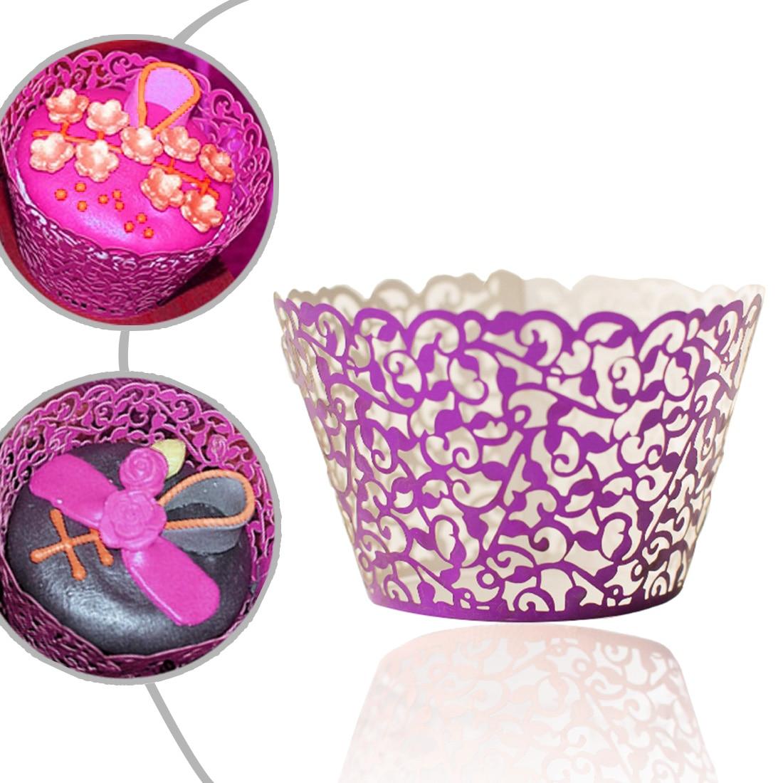 Top Fashion 12Pcs Hollow Decoration Wedding Filigree Vintage Cupcake Wrappers Wraps Case Gold Card