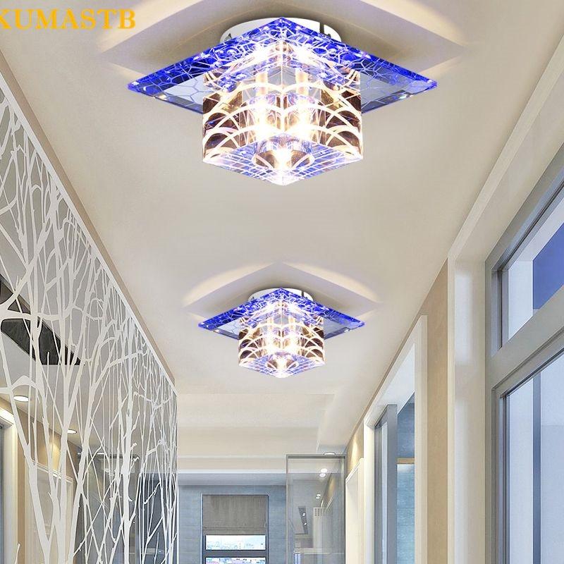 5W LED Crystal Aisle Light Ceiling Lamp Hallway Entrance Lamp Balcony Foyer Home Lights Lustre Fixtures Crystal Ceiling Light