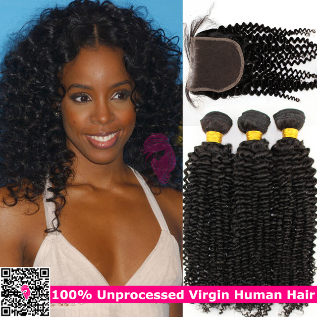 Kinky Curly Virgin Indian Remy Hair Bundles With Lace Closures Indi