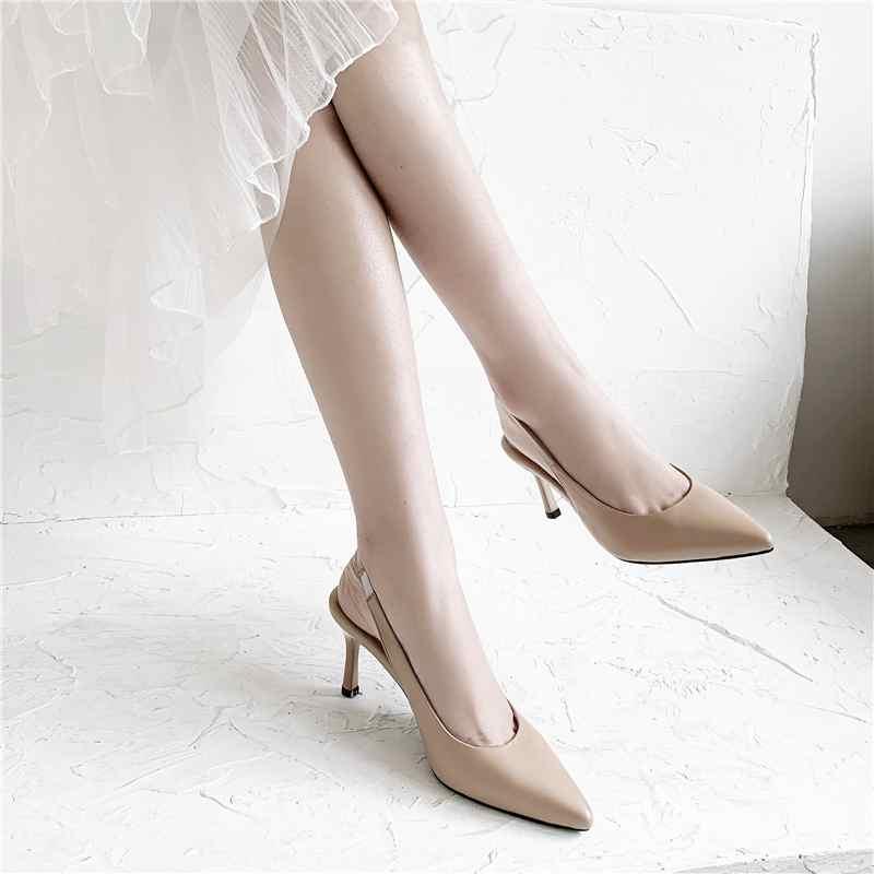 Krazing Topf full grain leder stiletto high heels spitz Britische elastische band slingback nach dating bequem pumpen L73-in Damenpumps aus Schuhe bei  Gruppe 2
