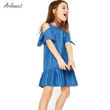 8271b5dc2a0 (Ship from US) ARLONEETKids girl princess dress girls costumes Denim Off  Shoulder Dress Sleeve Party Mini Dresses for girls elegant