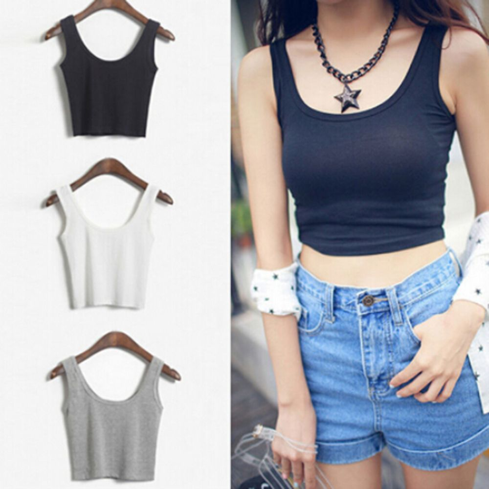 Great Summer font b Women b font Slim Render Short Sleeveless Solid Vest font b Tube