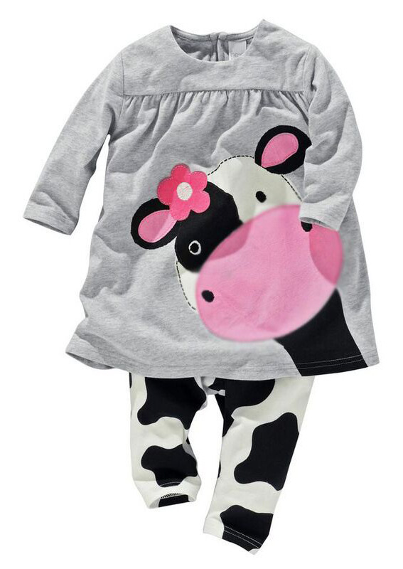 hot sale baby girl clothes baby girls two pieces set cotton cartoon cow  girls full sleeved+ pants children's suit
