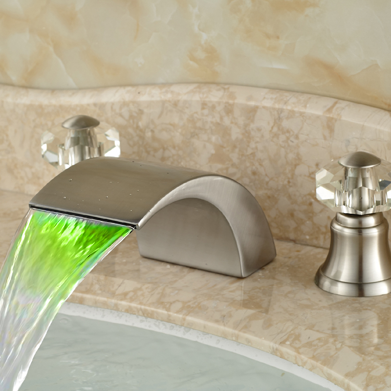 Brushed Nickel Deck Mounted Bathroom Sink Faucet with Waterfall LED Changing Spout withering tights