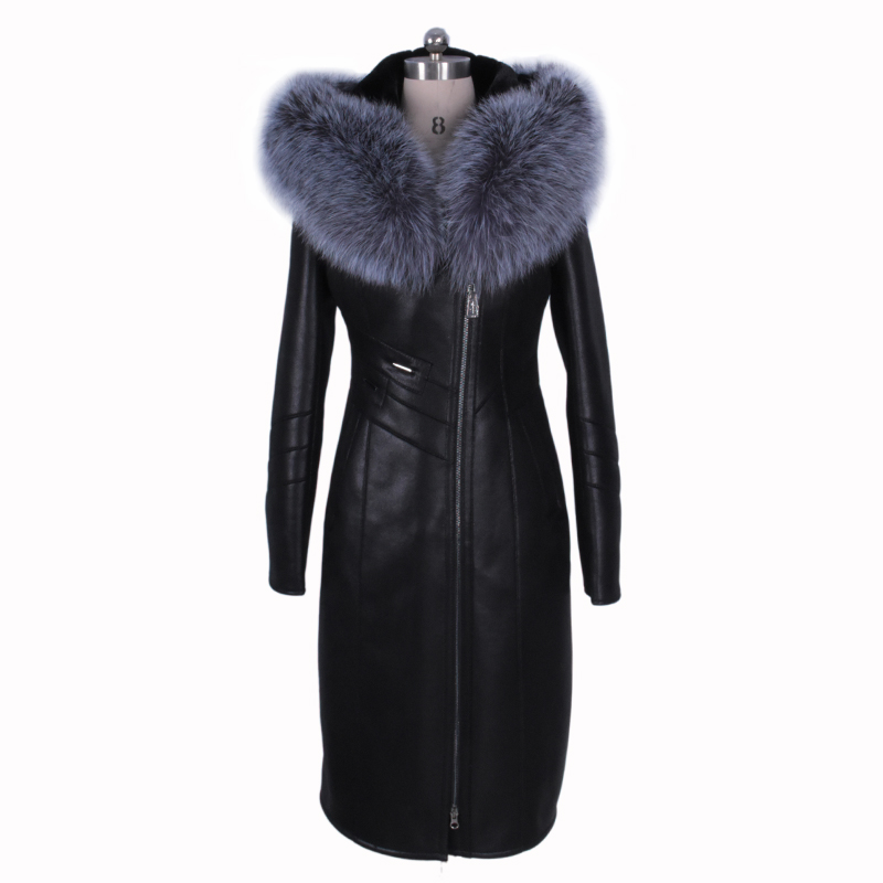 2017 new winter Womens coats Faux suedette Fashion New style large size Thickened Cold resistant 100% Genuine leather Fox Collar