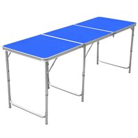 1.8m/6ft Aluminum Portable Folding Camping Picnic Party Dining Table - 180cm x 60cm(L & W) - with Adjustable Legs(Blue)