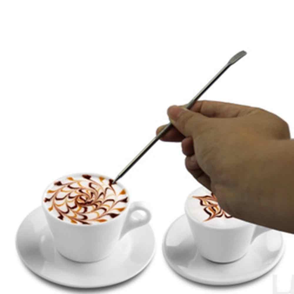 1 Pc przydatna stal nierdzewna Barista Cappuccino Latte ekspres do kawy Espresso dekorowanie Pen sztuki gospodarstwa domowego kuchnia Cafe narzędzie wyciągnąć kwiat