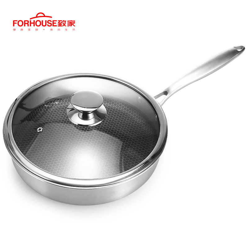 28cm Non stick 304 Stainless Steel Frying Pan Cooking Wok with Glass Cover