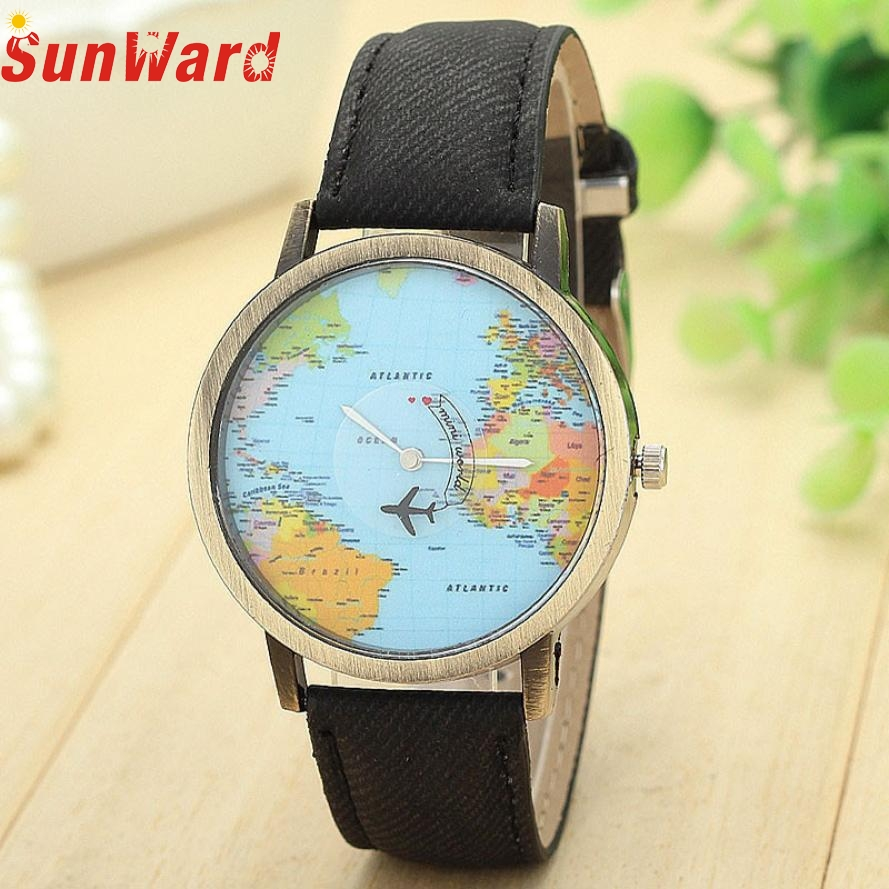 SunWard 2017 New Fashion Watches Women Global Travel By Plane Map Dress Denim Fabric Band Wristwatches Bangle Bracelet saatMay18 maisy goes by plane