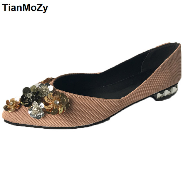 fashion flower shoes Women autumn flats sequins shoes pink black point toe  crystal shoes girls slip on loafer shallow shoes 417a2b8cfe25