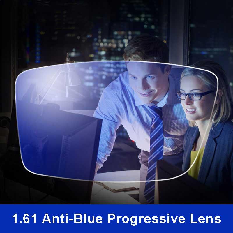 Анти-blue ray объектива 1.61 свободной форме прогрессивной рецепту оптическая линза Очки за УФ-объектив для Средства ухода для век защиты