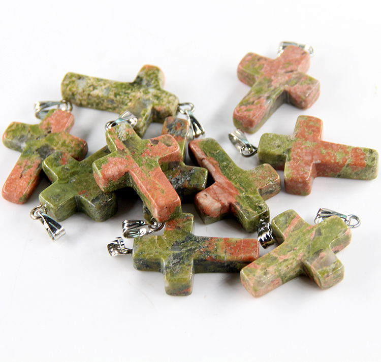Wholesale 10pcs/lot fashion hot sell natural stone crystal mixed color assort cross pendants Charms fit Necklaces jewelry making
